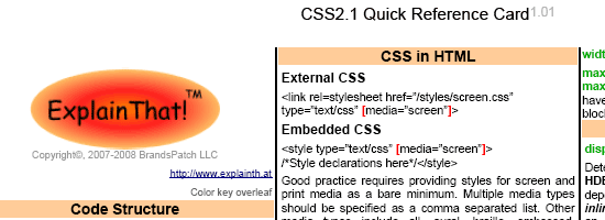 CSS2.1 Quick Reference Card - screen shot.