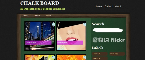 13 Magnificent Free Blogger Gallery based Templates-chalkboard