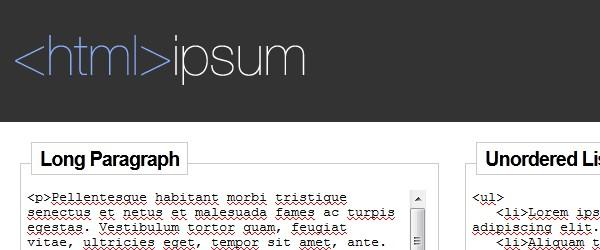 Best Web Development Tools-html-ipsum