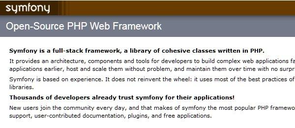 10+Popular PHP Framework-sumfony