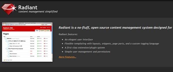 Top 15  Content Management systems (CMS)-radiant