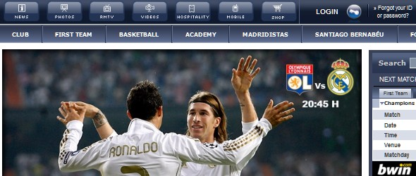 football club websites for inspiration-realmadrid