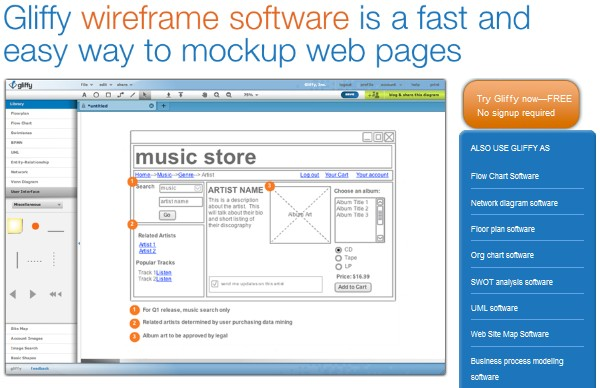Excellent Tools for Creating Web Design Wireframes-gliffy