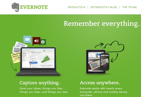 Free Web Apps for Students-evernote