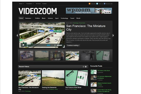 Free WordPress Video Themes-videozoom
