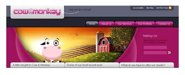 creative website headers-cow&monkey