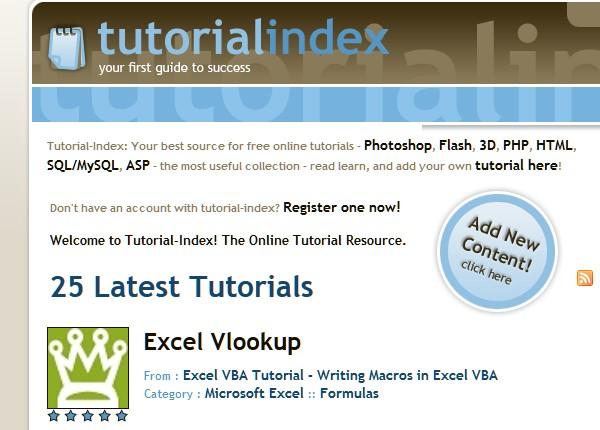 Sites to Submit Your Tutorials-tutorialindex