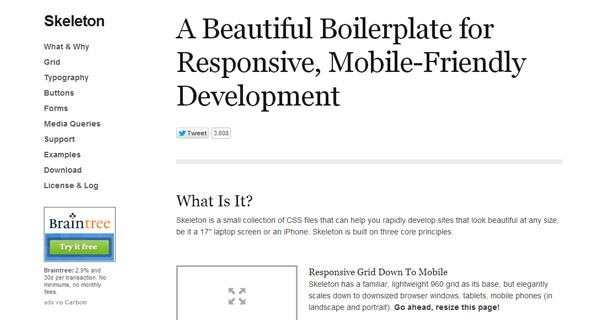 skeleton responsive css framework