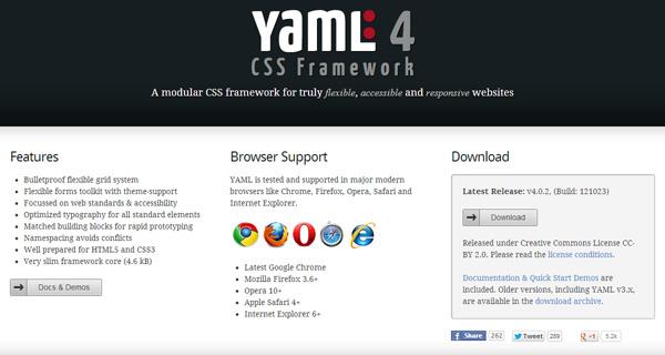yaml responsive css framework